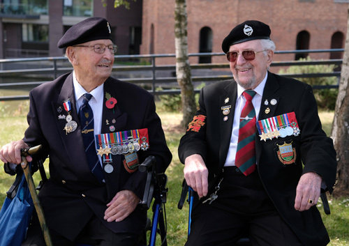 Ken Turner, right, shares  memories to mark the 75th  anniversary of the D-Day  landings       photo Dave Betts