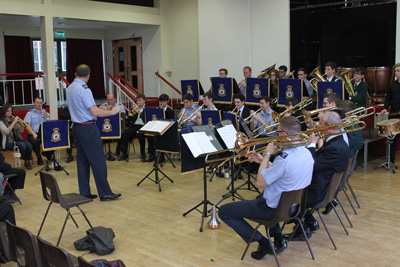 RAF band drops in to give Wellsway students a music masterclass