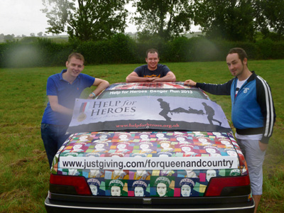 Trio take on Banger Run in aid of Help for Heroes