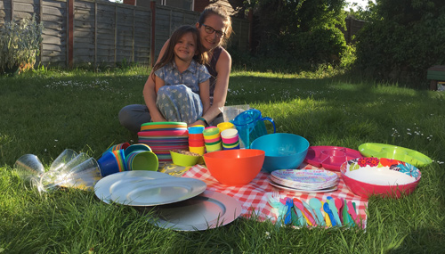 Amari, 6, creates plastic party box