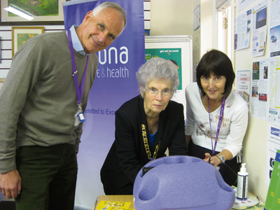 Simon Knighton, chair of Sirona, Cllr Gill Hellier, and infection prevention nurse Denise Meyers